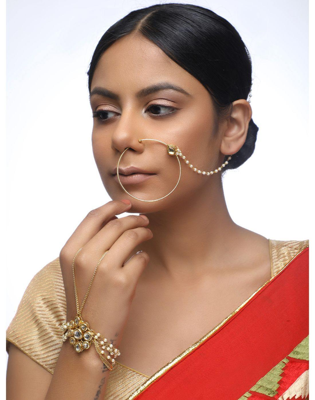 Kundan Naath & Bracelet Set-Accessories-Glamourental