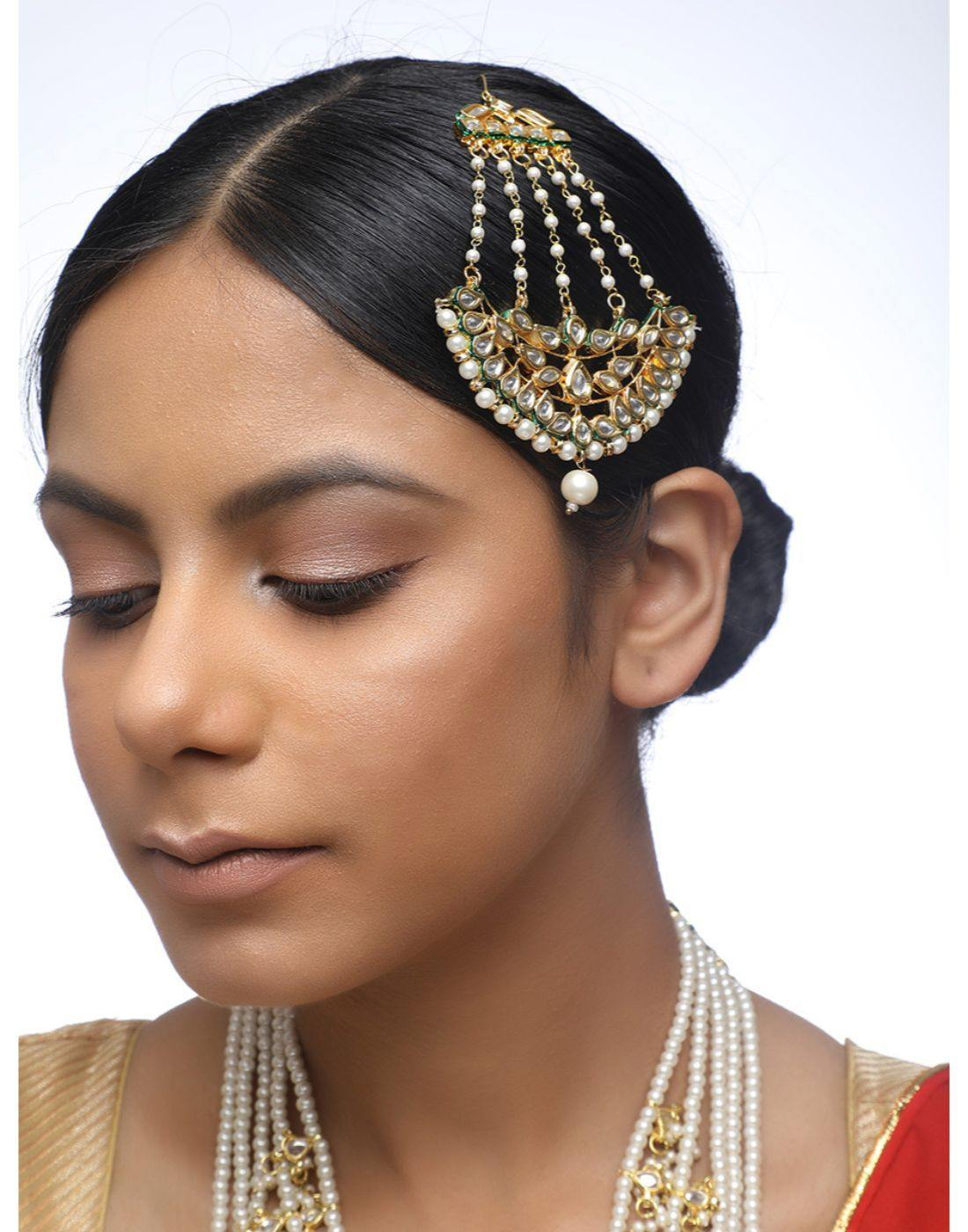 Kundan Layered Neckpiece With Naath & Jhumaar-Accessories-Glamourental