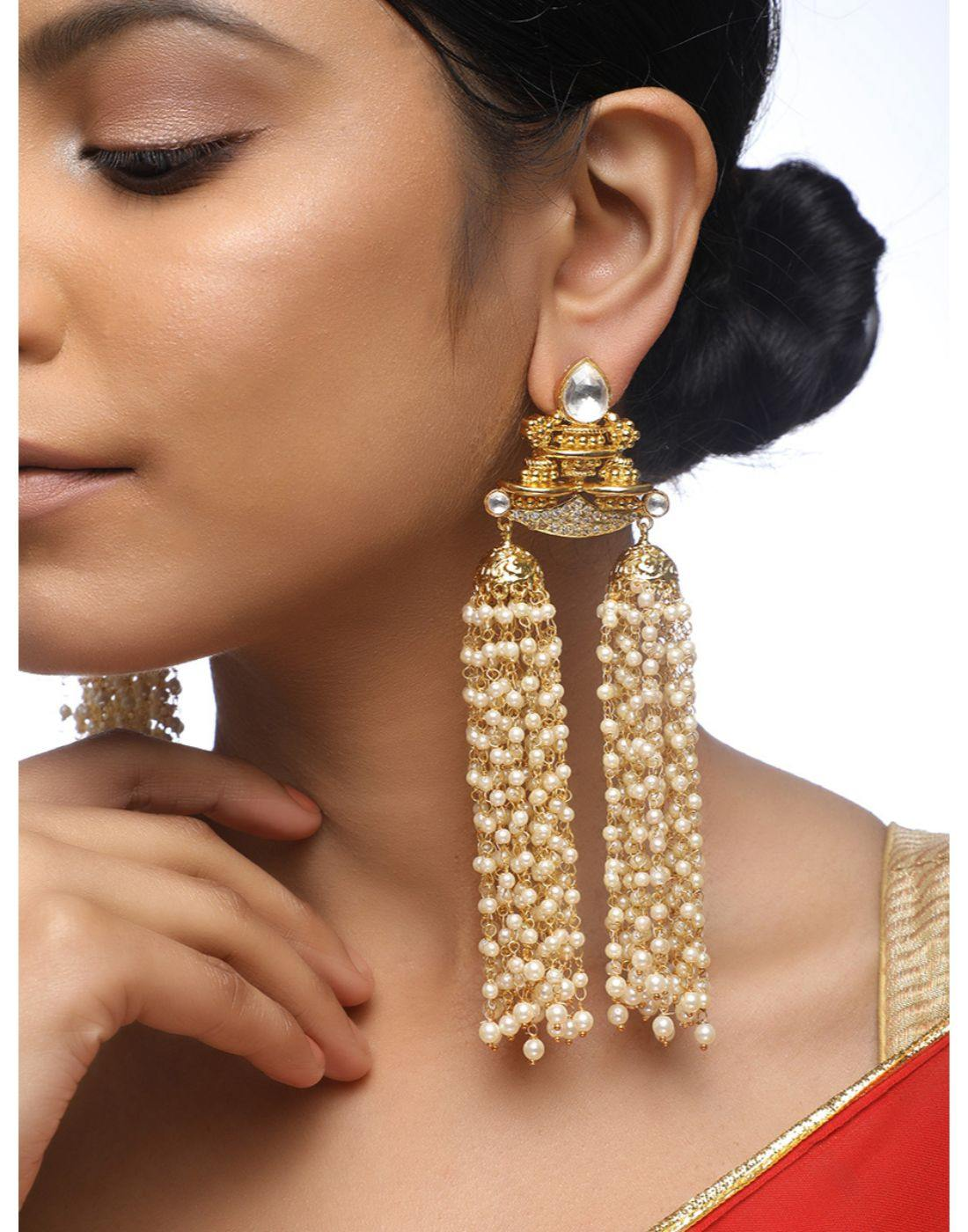 Kundan Tassle Earrings-Accessories-Glamourental