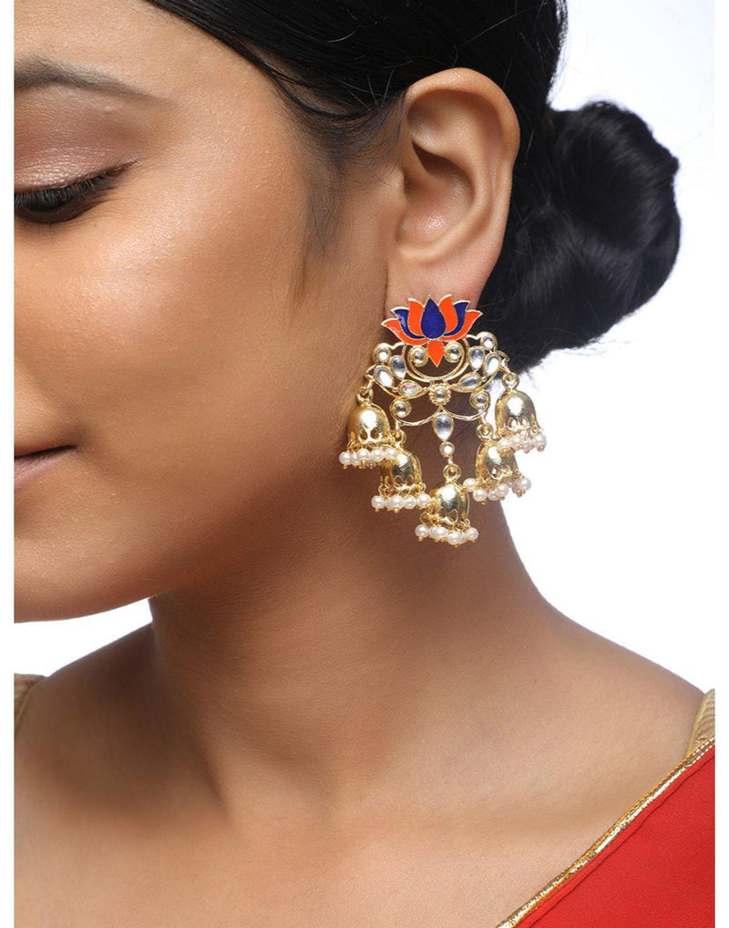 Lotus 5 Tier Jhumka-Accessories-Glamourental