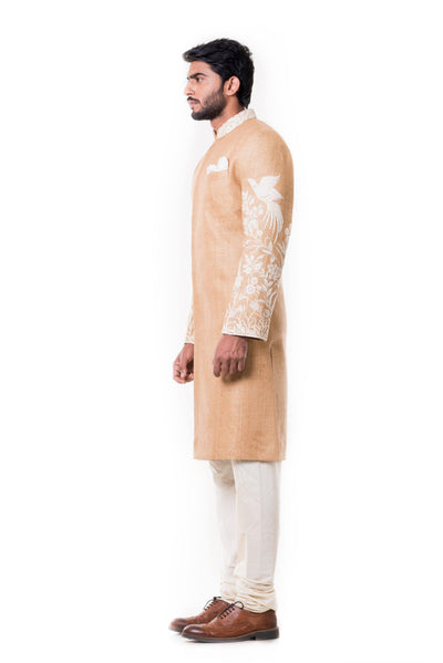Cream Kurta With Hand Embroidered Beige Sherwani Set.-Men-Glamourental