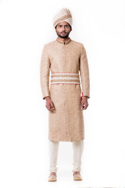 Cream Kurta With Zadi Embroidered Beige Sherwani Set.-Men-Glamourental