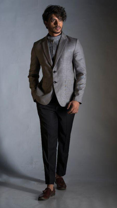 Blazer in Slubbed Grey with a Detachable High Neck Zipper Waistcoat Set-Men-Glamourental