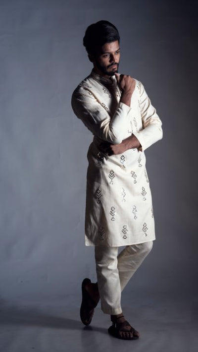 Straight Cut Kurta in Cream with Traditional Mirror Work Set-Men-Glamourental