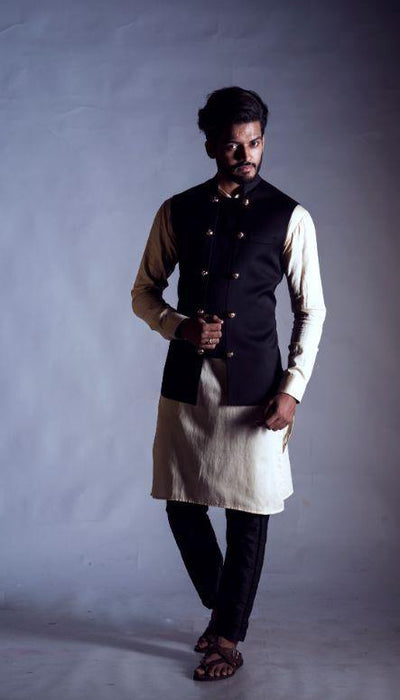 Black Nehru Coat with a Double Breasted Panel-Men-Glamourental