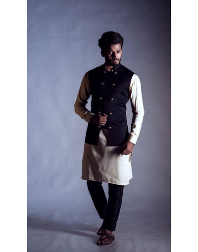 Black Nehru Coat with a Cream Kurta and Trouser