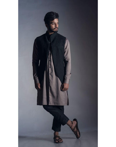 Open Front Chikankari Nehru Coat in Jet Black-Men-Glamourental
