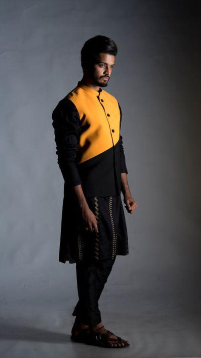 Nehru Coat in Yellow and Black Colour BlocK Jacket & Kurta Set-Men-Glamourental