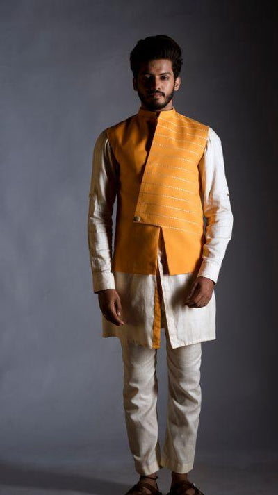 Bright Yellow Embroidered Nehru Coat with an Off White Shirt Kurta Set-Men-Glamourental