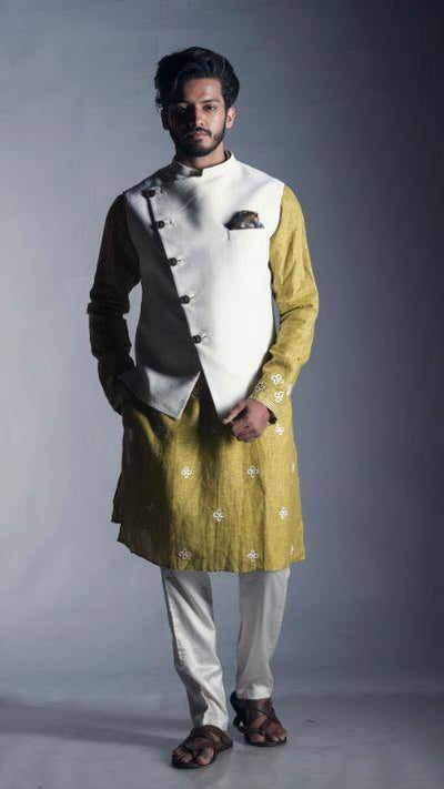 Plain White Off Centre Nehru with a Subdued Green Kurta-Men-Glamourental
