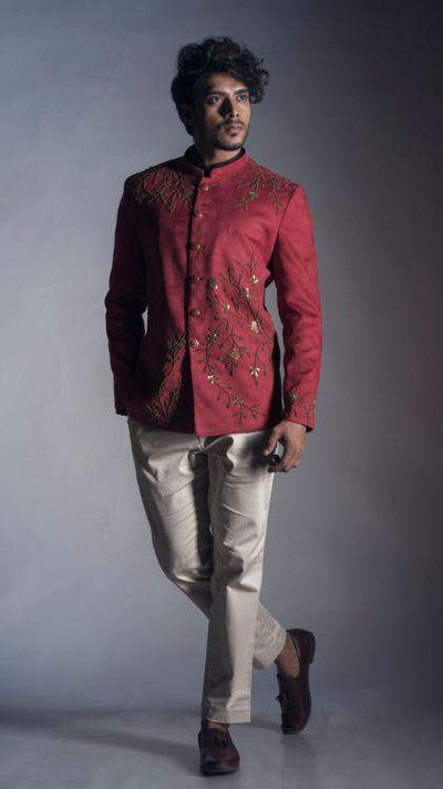 Red Velvet Prince Coat with Cream Trouser-Men-Glamourental