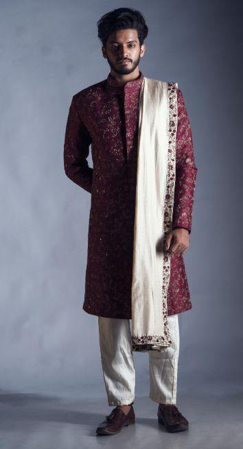 Maroon Sherwani with Jaal Zari Work with an Embroidered Silk Dupatta and Churidar-Men-Glamourental