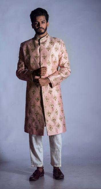 Light Pink Raw Silk Sherwani with Churidar-Men-Glamourental