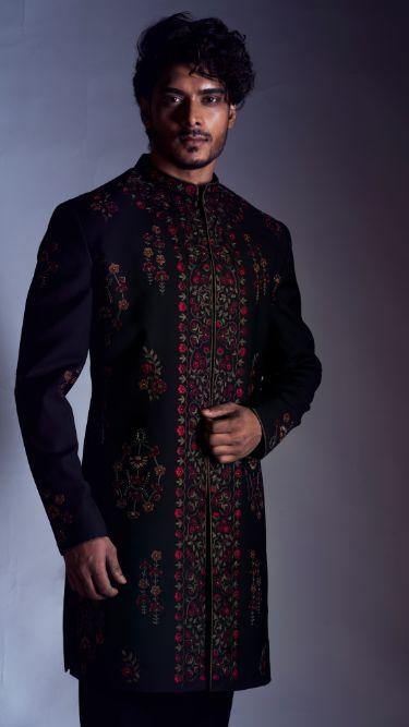 Black Sherwani with Floral Embroidery with Black Trouser-Men-Glamourental