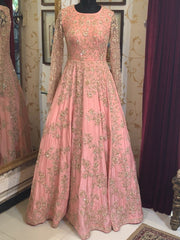 Light Pink Heavy Embroidered Gown-Women-Glamourental