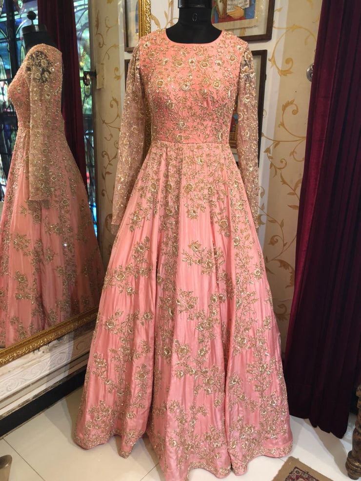 Light Pink Heavy Embroidered Gown