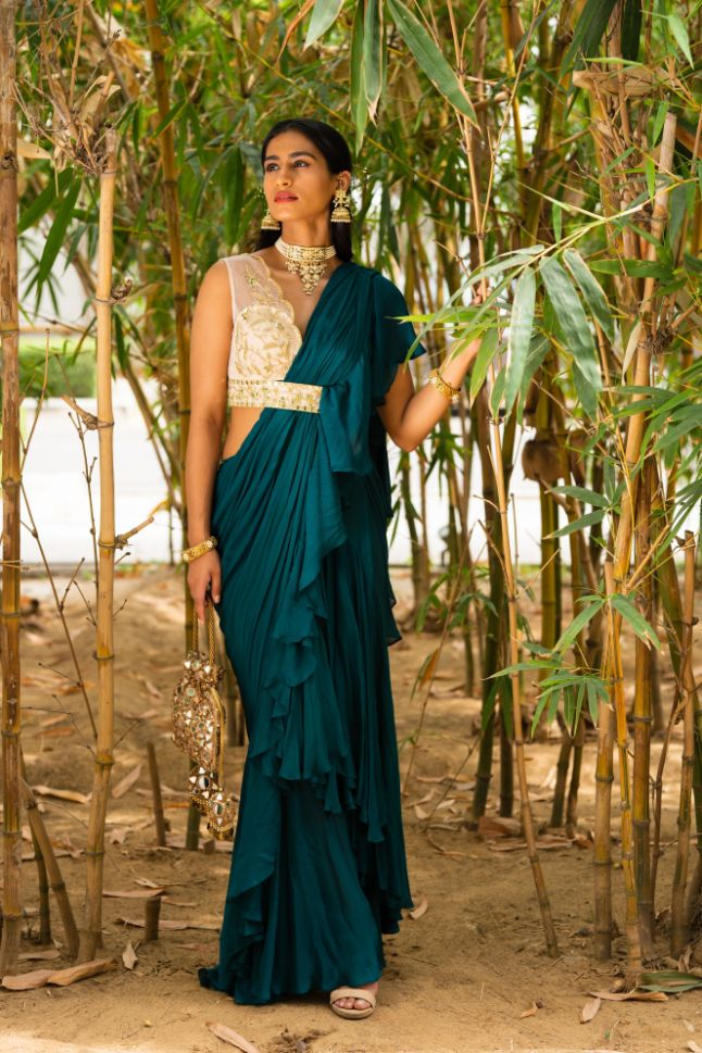 Rent Teal Green Zuri Ruffle Saree