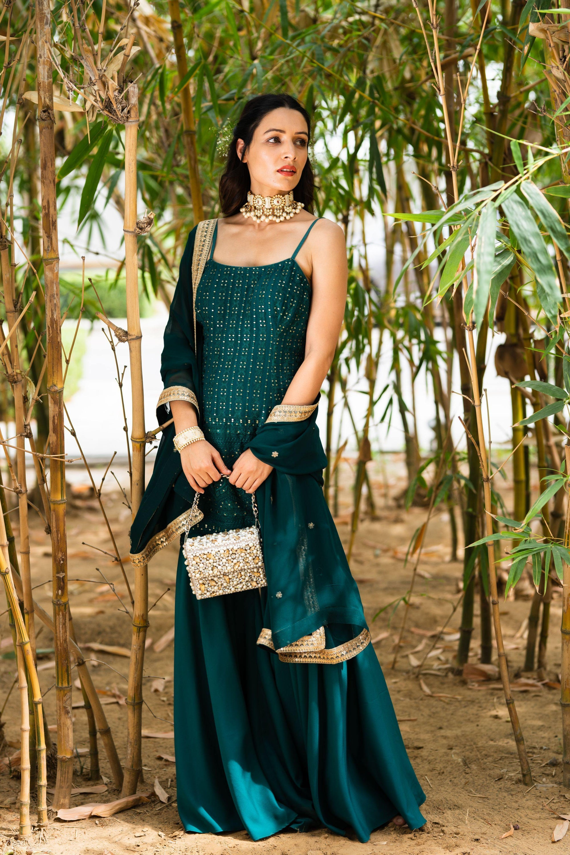 Rent Teal Green Ekayah Sharara Set