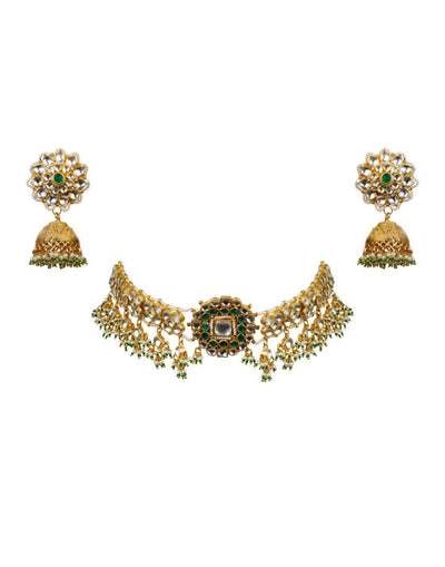 Bracelet Choker With Green Stones And Jhumkis