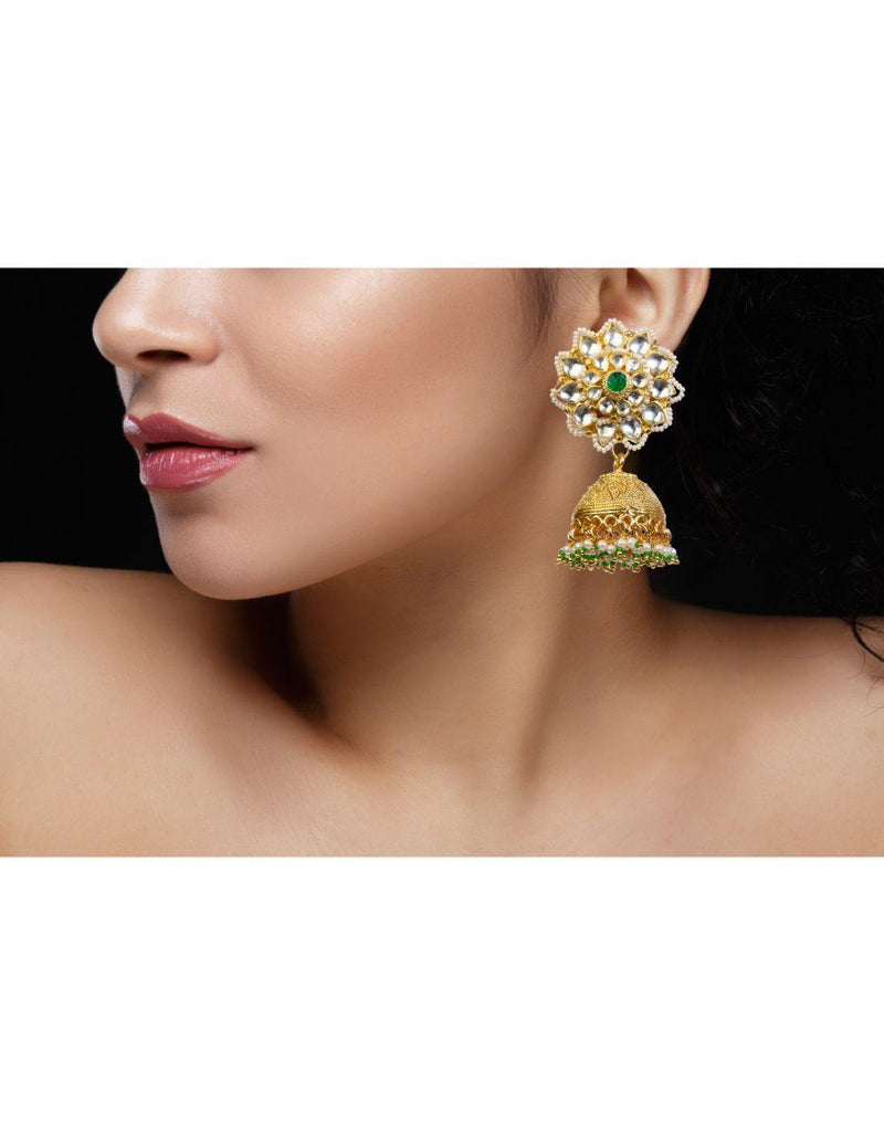 Arnara Indian Bollywood Gold Plated Green Pearl Kundan Choker Necklace Earrings Set Women Jewelry-Accessories-Glamourental