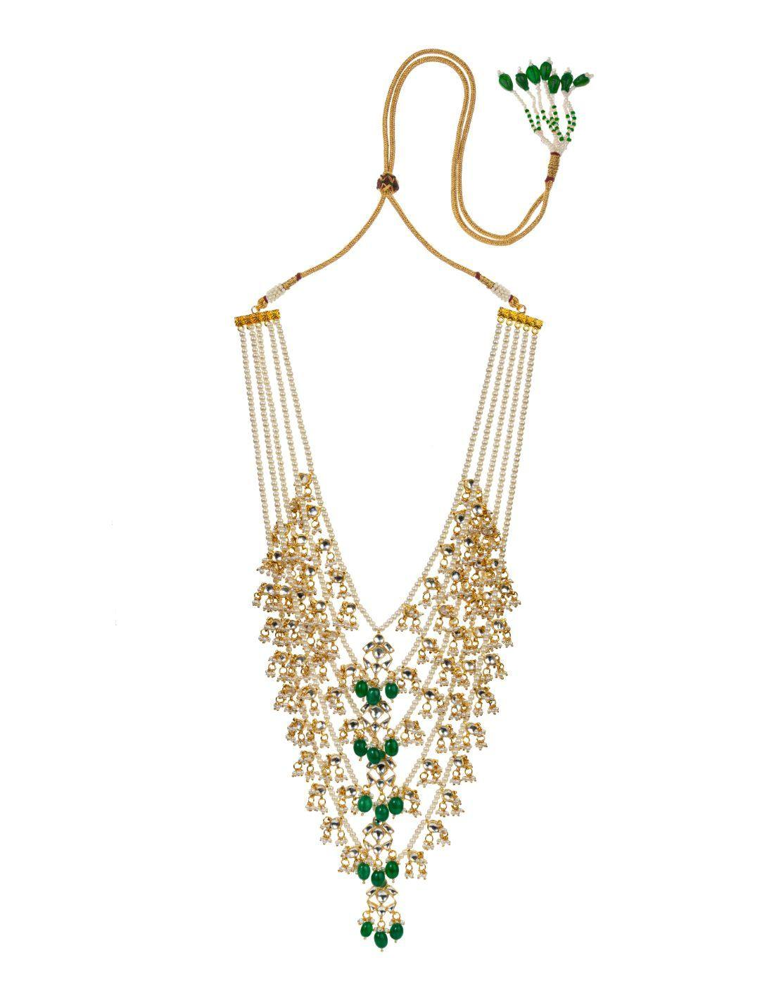 Green And White 5 Line Set On Pearl Strings-Accessories-Glamourental