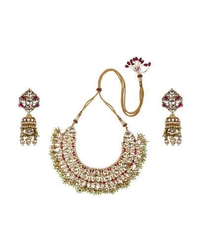 Pink And White Kundan Choker With Jhumki Earrings-Accessories-Glamourental