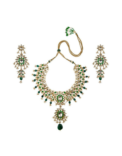 22k Gold Plated Emerald & Ivory Pearl Bridal Necklace Set-Accessories-Glamourental