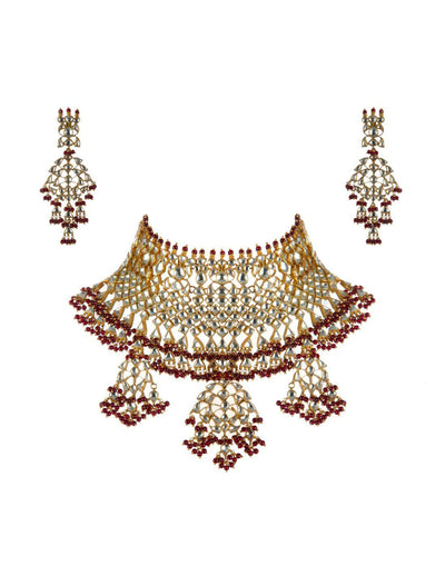 22k GOLD PLATED RED BRIDAL NECKLACE SET-Accessories-Glamourental
