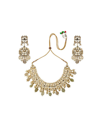 Light Green And Pearl Necklace Set-Accessories-Glamourental