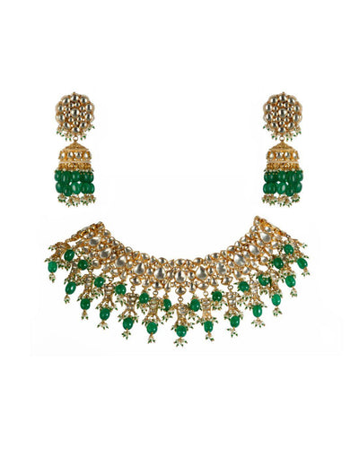 Green And White Fish Necklace With Jhumki Earrings