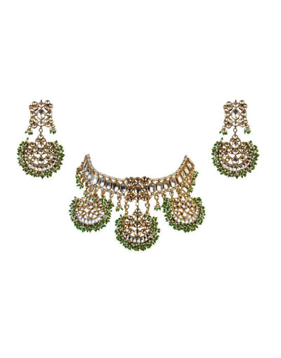 Gold Plated Green Beads Necklace Set-Accessories-Glamourental