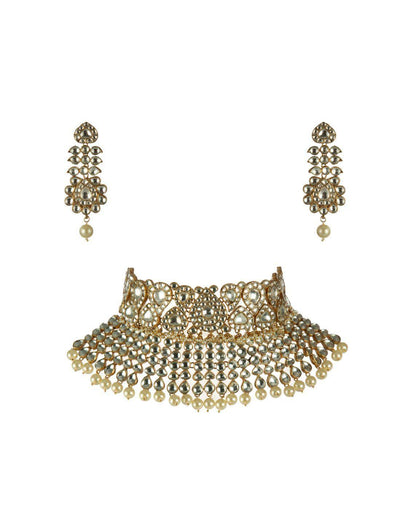 WHITE JADTAR STONE TWO LAYER NECKLACE SET-Accessories-Glamourental