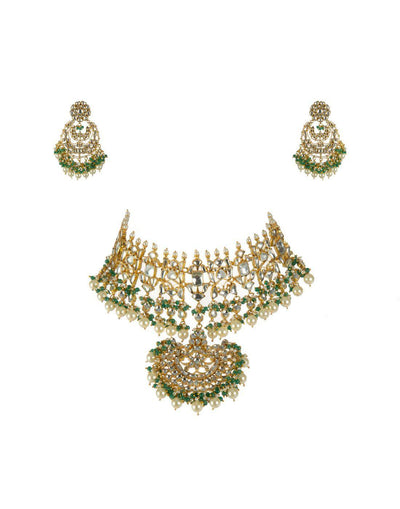 Light Green Bead Choker Set With Chand Baalis
