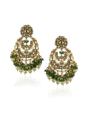 22k Emerald Green And White Kundan Necklace Set-Accessories-Glamourental