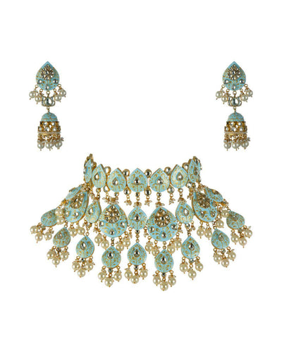 Moghul Pastel Blue Meenakari Choker Necklace Online -USA-Accessories-Glamourental