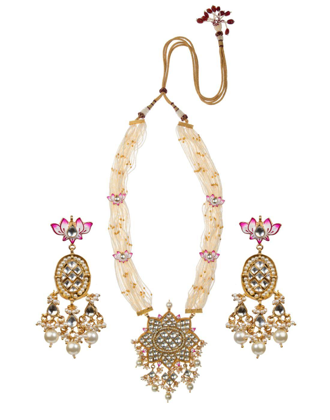 22k Gold Plated Lotus Pink And White Jadtar Pendant Set-Accessories-Glamourental