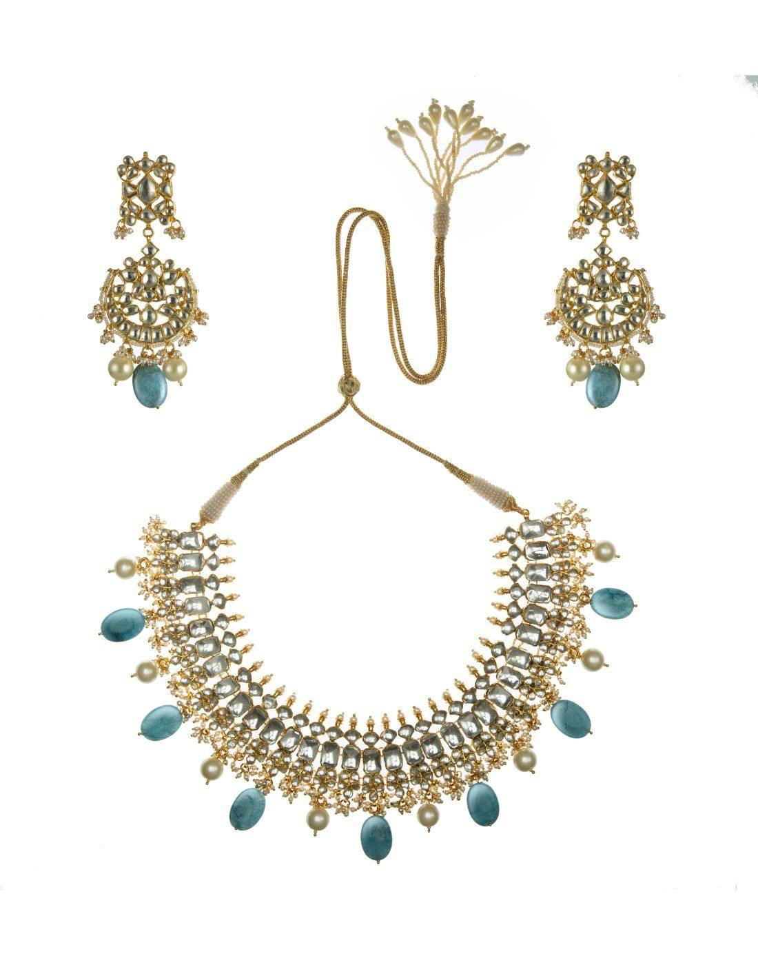 22k Gold Plated Sea Blue And White Jadtar Necklace Set-Accessories-Glamourental