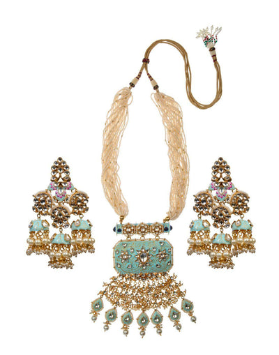 Pastel Blue And Pink Meena Work Pendant