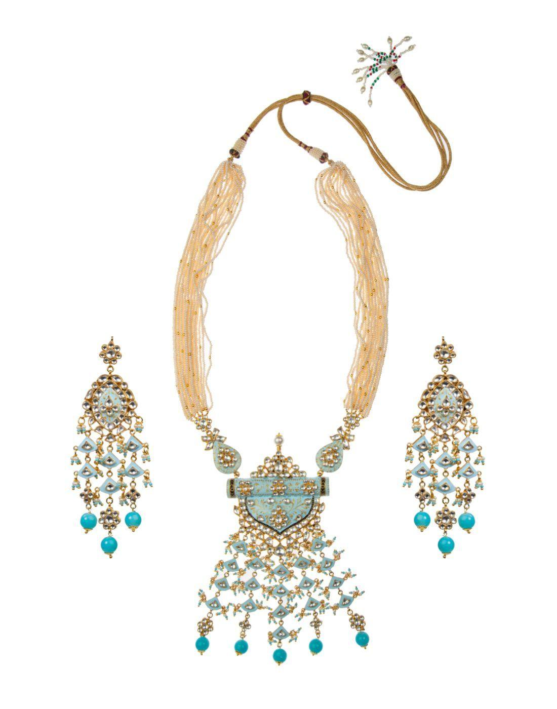 Firozi Blue Pendant Set With Bright Firozi Beads-Accessories-Glamourental