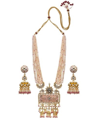 Pink and White Pearl Meenakari Heavy Pendant Necklace Set-Accessories-Glamourental