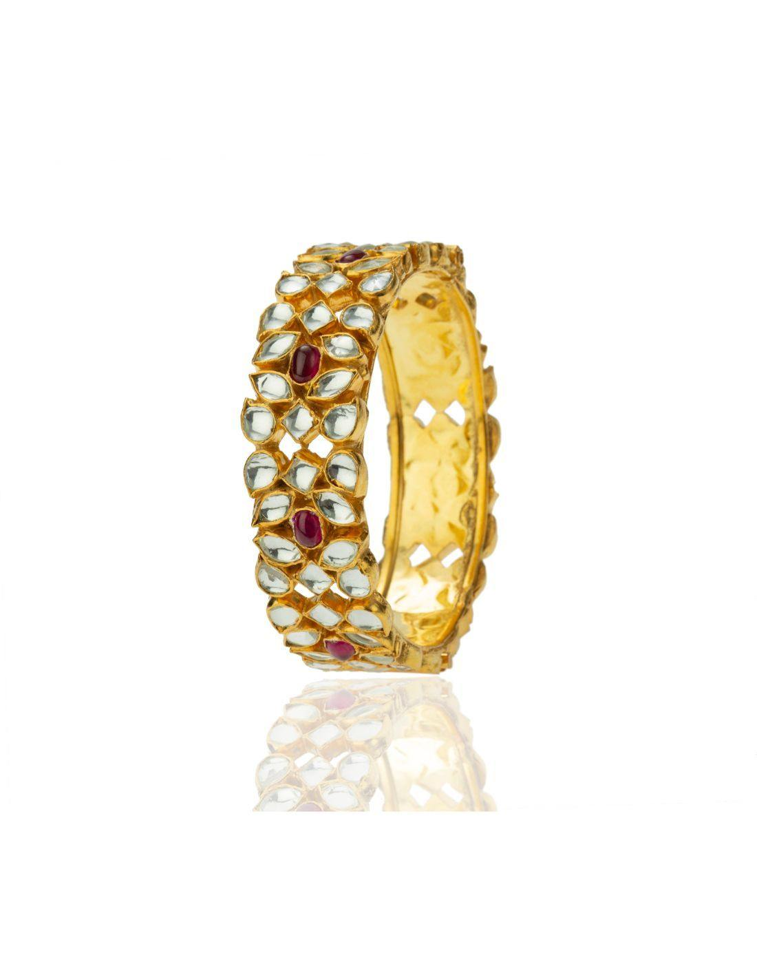 Gold Plated Pearl Designer Bangles Jewellery for Women-Accessories-Glamourental