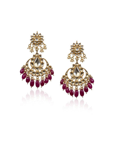 White Jadtar Earrings With Maroon Drops