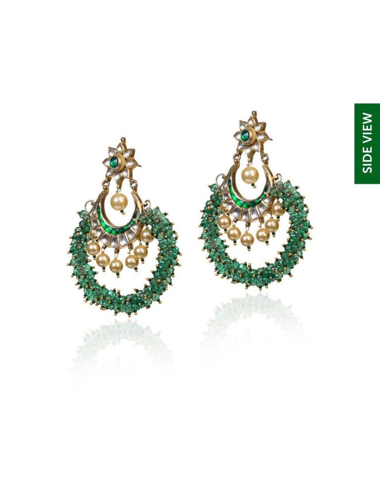 Chand Earrings With Light Green Beads-Accessories-Glamourental