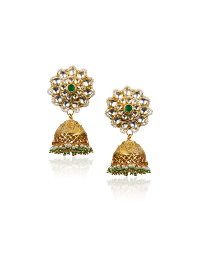 Gold Jhumkis With Pearl Jhumkis