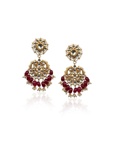 Drop Shape Earrings With Maroon Hangings