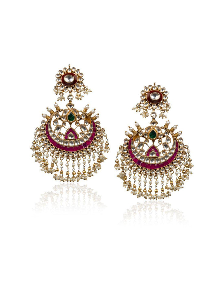 Brown And Red Meena Work Earrings-Accessories-Glamourental