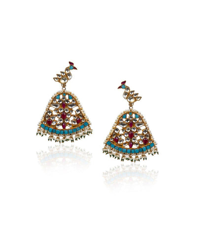 Firozi Peacock Earrings-Accessories-Glamourental
