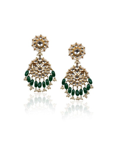Drop Shape Earrings With Green Hangings