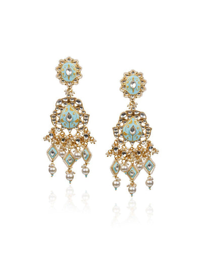 Firozi And White Earrings
