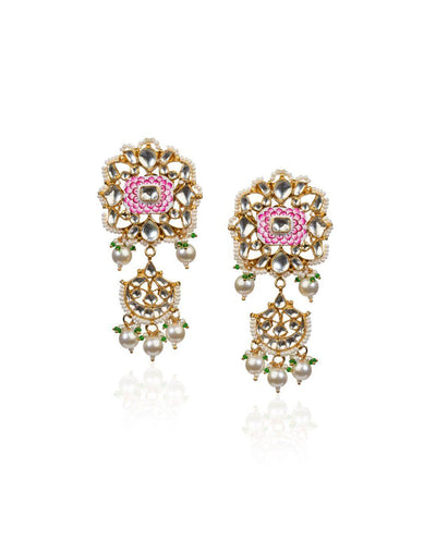 Pink And White Meena Work Earrings